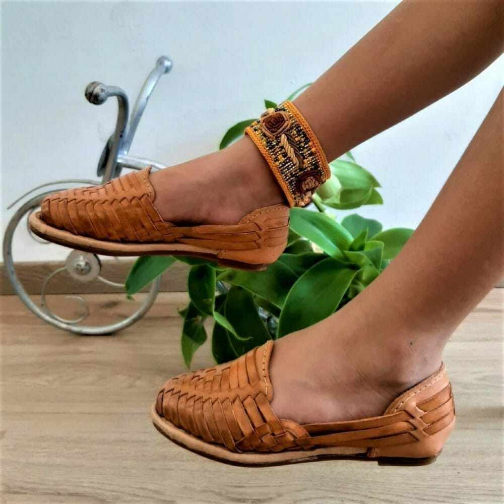 zs00636 Huarache Artesanal Mexicano Hecho mano piel infantil Zapato piso calzado mayoreo fabrica proveedor maquilador fabricante