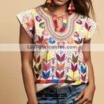 rj0062 Blusa artesanal bordado a mano milpas mujer mayoreo fabricante proveedor taller maquilador (1)