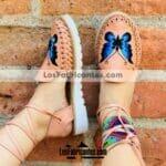 zj00706 Huarache artesanal piso mujer mayoreo fabricante calzado zapatos proveedor sandalias taller maquilador