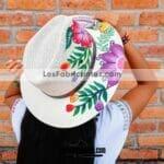 aj00079 Sombrero pintado a mano con diseño de flores artesanal mujer mayoreo fabricante proveedor ropa taller maquilador