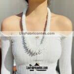 an00015 Lote de 6 piezas collar artesanal chaquira hechos a mano diseño circulos color blancomayoreo fabricante proveedor taller maquilador (1)