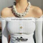 an00018 Lote de 6 piezas collar artesanal chaquira hechos a mano color beige diseño de trenzamayoreo fabricante proveedor taller maquilador (1)