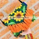 bs00173 Bolsa cartera artesanal bordada de flores con motas color azulmayoreo fabricante proveedor taller maquilador (1)