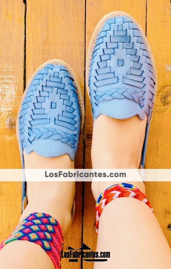 zs00913 Huaraches artesanales tejido color azul de piso mujer mayoreo fabricante calzado zapatos proveedor sandalias taller maquilador (1)