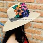 aj00165 Lote de 3 sombreros de palma pintado a mano artesanal diseño de flores de coloresmayoreo fabricante proveedor taller maquilador (1)