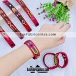 as00100 Lote de 12 pulseras artesanales de piel color vino tejido de hilo surtidomayoreo fabricante proveedor taller maquilador (1)