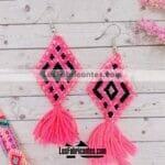 as00117 Lote de 10 pares aretes artesanales bordados a mano de manta color rosamayoreo fabricante proveedor taller maquilador (1)