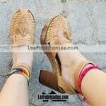 zj00873 Huaraches artesanales tejido color camel con pulsera altura de tacon 9cm aprox de plataforma mujer mayoreo fabricante calzado zapatos proveedor sandalias taller maquilador