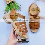 zs00944 Huaraches artesanales color cafe altura de tacon de 3.5 cm de piso infantil mayoreo fabricante calzado zapatos proveedor sandalias taller maquilador