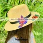 aj00183 Lote de 3 piezas sombrero pintado a mano artesanal diseño de colibri mayoreo fabricante proveedor ropa taller maquilador