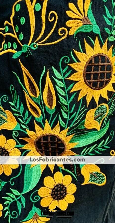 rj00698 Vestido bordado a maquina diseño de girasolesmayoreo fabricante proveedor taller maquilador (1) (1)