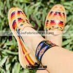 zs00983 Huaraches Mexicanos De Piso Mujer Color Tan De Piel Con tejido combinado Hecho En Sahuayo Michoacan (1)