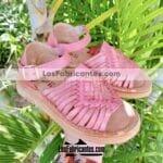 zs01002 Huaraches Mexicanos De Bebé Artesanales Color Rosa De Piel Con combinado Hecho En Sahuayo Michoacanmayoreo fabricante calzado zapatos proveedor sandalias taller maquilador