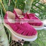 zs01005 Huaraches Mexicanos Artesanales Infantiles Color Fiusha De Gamuza Con con motas Hecho En Sahuayo Michoacanmayoreo fabricante calzado zapatos proveedor sandalias taller maquilador