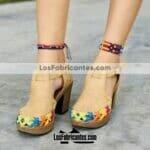 zj00937 Huaraches Mexicanos De Plataforma Artesanales Color Tan De Piel Con diseño de troquel altura de 10cm aprox Hecho En Sahuayo Michoacanmayoreo fabricante calzado zapatos proveedor