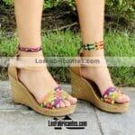 zj00939 Huaraches Mexicanos De Plataforma Artesanales Color Tan De Piel Con trenza tejida altura de 10cm aprox Hecho En Sahuayo Michoacanmayoreo fabricante calzado zapatos (2)