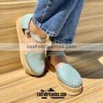 zj00942 Huaraches Mexicanos De Piso Mujer Color Menta De Piel Con diseño troquelado Hecho En Sahuayo Michoacanmayoreo fabricante calzado zapatos proveedor sandalias taller maquilador