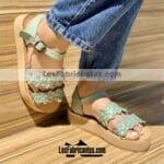 zj00944 Huaraches Mexicanos De Piso Mujer Color Menta De Piel Con diseño tejido Hecho En Sahuayo Michoacanmayoreo fabricante calzado zapatos proveedor sandalias taller maquilador