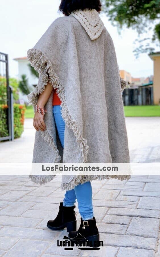 rj00748 Gabán Poncho Color Gris de lana Unitalla unisex hecho en Chiapas México mayoreo fabricante proveedor taller maquilador (2)